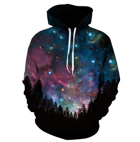 3D Blue and Purple Galaxy Hoodies Sweatshirt