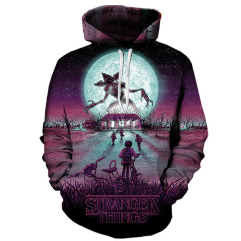 Stranger Things Purple Night 3D Hoodies Sweathsirt