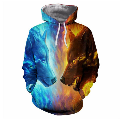 Ice and Fire Lion 3D Hoodies