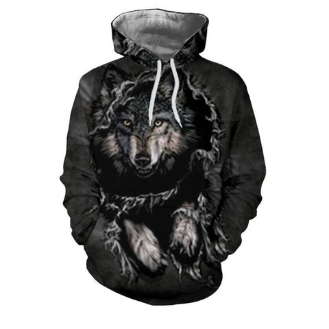 Gray Wolf 3D Hoodies