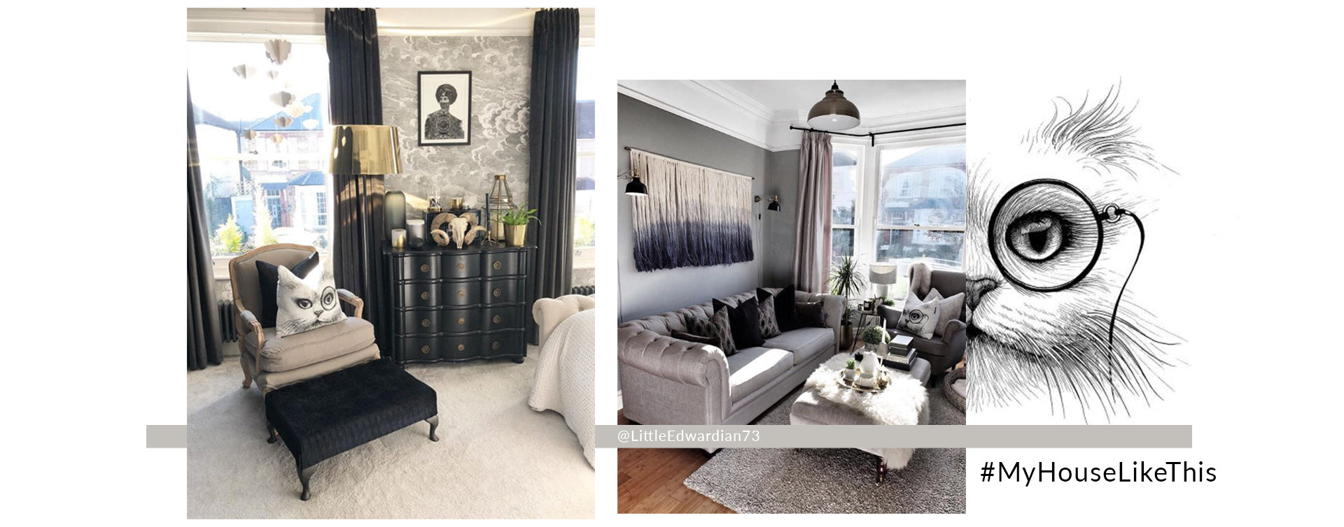 MYHOUSELIKETHIS features LittleEdwardian73 - a home with fornasetti inspired wallpaper, dark glamour and monochrome decor