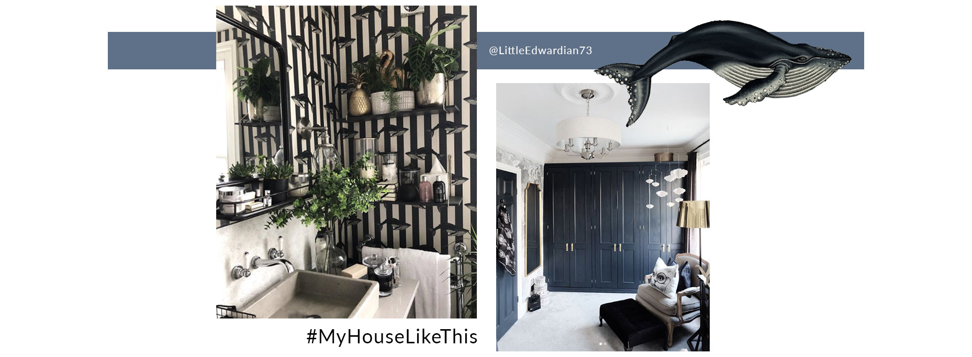 MYHOUSELIKETHIS features LittleEdwardian73 - a home with fornasetti house of hackney inspired wallpaper, dark glamour and monochrome decor