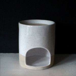 GLAZED MELT BURNER | For Wax Melts & Aroma Oils | White & Raw Ceramic Wax Melt & Oil Burner A House Like This