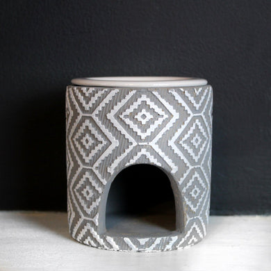 IKAT MELT BURNER | For Wax Melts & Aroma Oils | White & Grey Ceramic Wax Melt & Oil Burner A House Like This