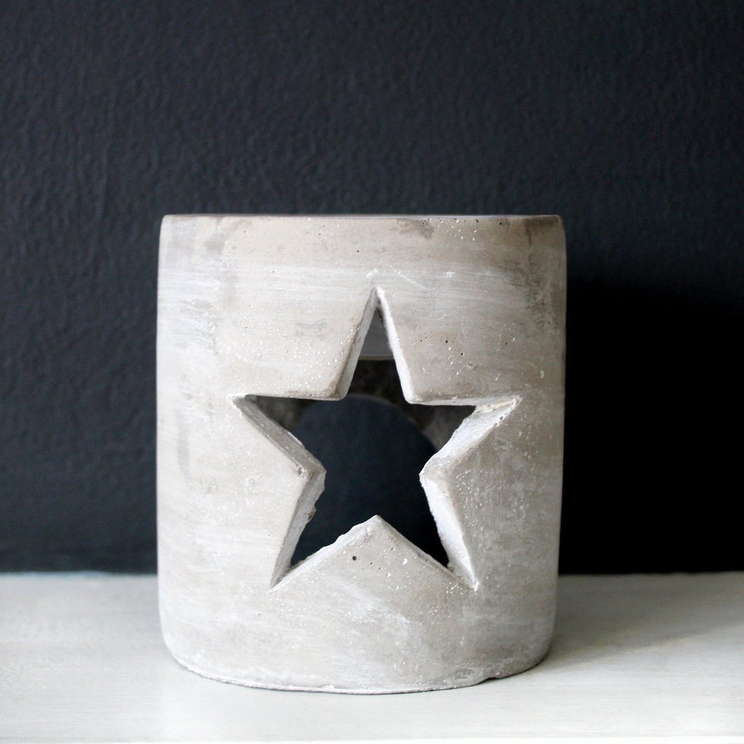 STAR CUT OUT MELT BURNER | For Wax Melts & Aroma Oils | Grey Concrete Wax Melt & Oil Burner A House Like This