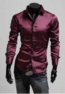 Camisa Casual Slim Fit Night Shine - Para la Noche - en Rojo, Negro y Purpura