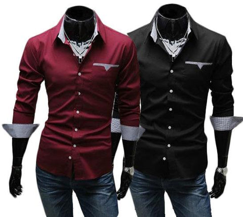 Kit 2 Camisas Casuales - Estilo Luxury Slim Fit - Roja y Negra