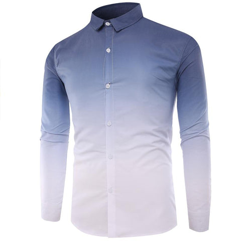 Camisa Fashion Slim Fit - Diseño en Degrade - en Azul y Azul Oscuro