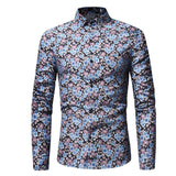 Camisa Fashion Retro Floral - Romantic - en Rojo y Azul