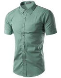 Camisa Casual Slim Fit Manga Corta - en  14 Colores