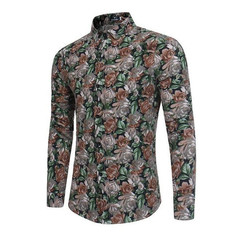 Camisa Estampada Fashion - Diseño Floral Retro