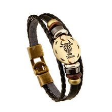 Constellation Head Bracelet Black Leather Beaded Bracelets For Men Women Pulseras Hombre