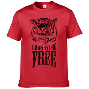 """BORN TO BE FREE"" Tiger T-shirt 100% Cotton"