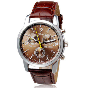 Men Watch Fashion Brown Faux Leather Analog Quartz Watch Relogio Masculino