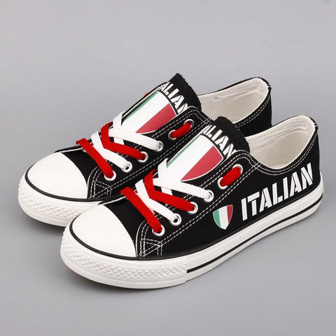 166a4a621cd1 Italian Pride Shoes Low Top Canvas Custom Printed Sneakers – Custom ...
