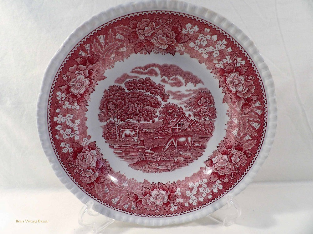 Adams English Scenic pink, serving plate, red and white plates, ironstone dinner ware, 1960s vintage dinnerware