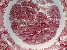 English Scenic plate, Adams pink, red and white plates, ironstone dinner ware, 1960s vintage dinnerware