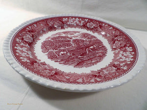 Adams English Scenic pink, red and white plates, ironstone dinner ware, 1960s vintage dinnerware