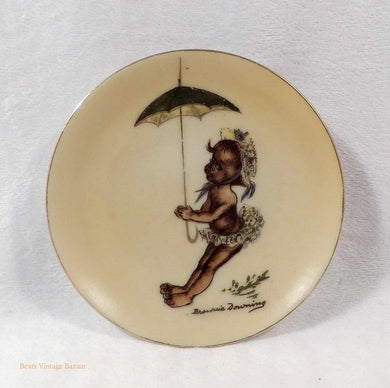 Brownie Downing artist, Australian collectable plate, Brownie Aboriginal child with umbrella, 1950's vintage collectable