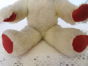 cream and red teddy bear, Chad valley bears, vintage toy collection,