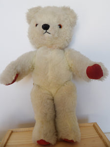 teddy bear collection, white Chad Valley teddy bear, vintage toys, collectable plush toy,