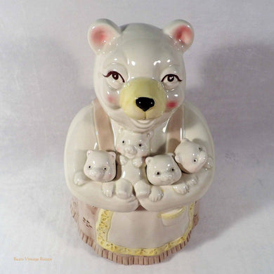 Fitz and Floyd Cookie Jar, polar bear with cubs design, rare cookie jars, vintage collectors, biscuit barrel, porcelain canister, cookie jars online Australia