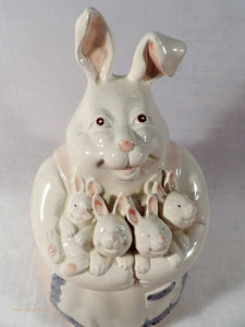 Fitz and Floyd Cookie Jar, collectible cookie jars, mother rabbit with bunnies, rare cookie jars, porcelain canister, biscuit barrel, cookie jars online au