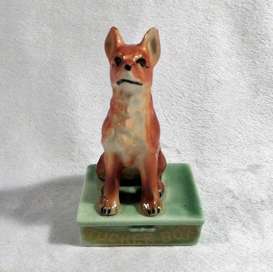 Dog on the Tucker Box, tuckerbox dog, vintage Australiana, Australian location souvenirs, dog figurine, 5 miles from Gundagai, vintage Japan ceramics