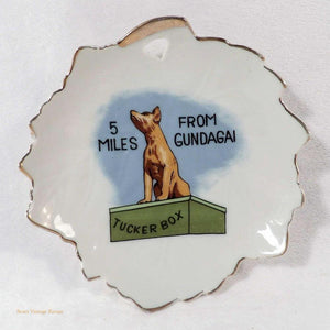 Dog on the Tucker Box, Gundagai souvenir dish, Australiana decor, Australian kitsch home decor, vintage 1960's