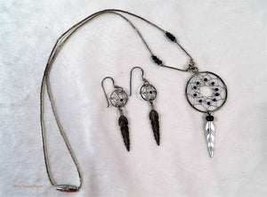 Dreamcatcher necklace and earrings, dreamcatcher set, native american jewellery, vintage matching set, boho style accessories, 1980s