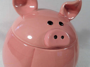 cute pig cookie jar, farmhouse kitchen decor, collectible cookie jars, pink ceramic pig figure