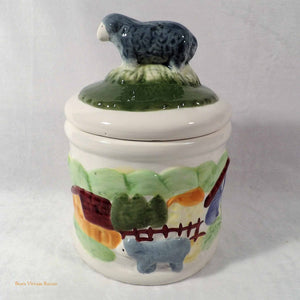 vintage farmhouse cookie jar, country sheep collection, vintage cookie jars, farmhouse kitchen cannister, online vintage au