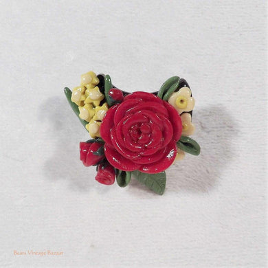 red rose brooch, flower posy brooch, artisan jewellery, vintage brooches, unique handmade jewellery, Australian brooches