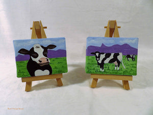 country farmhouse kitchen decor, set of cow paintings, farmhouse cow decor,  folk art cow picture