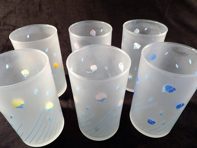 frosted glass, tumblers; set of glasses, vintage glass ware, 1980s, collectable vintage