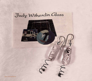 drop earrings, handmade glas jewellery, vintage, big earrings, boho earrings, judy witherdin glass art,