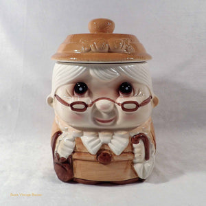 vintage cookie jar, 1950s biscuit jar, ceramic container, Norleans, Japan, vintage kitchen decor