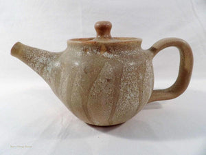 rustic style teapot, Australian made pottery, gum leaf design, country style decor, tea pot collectors