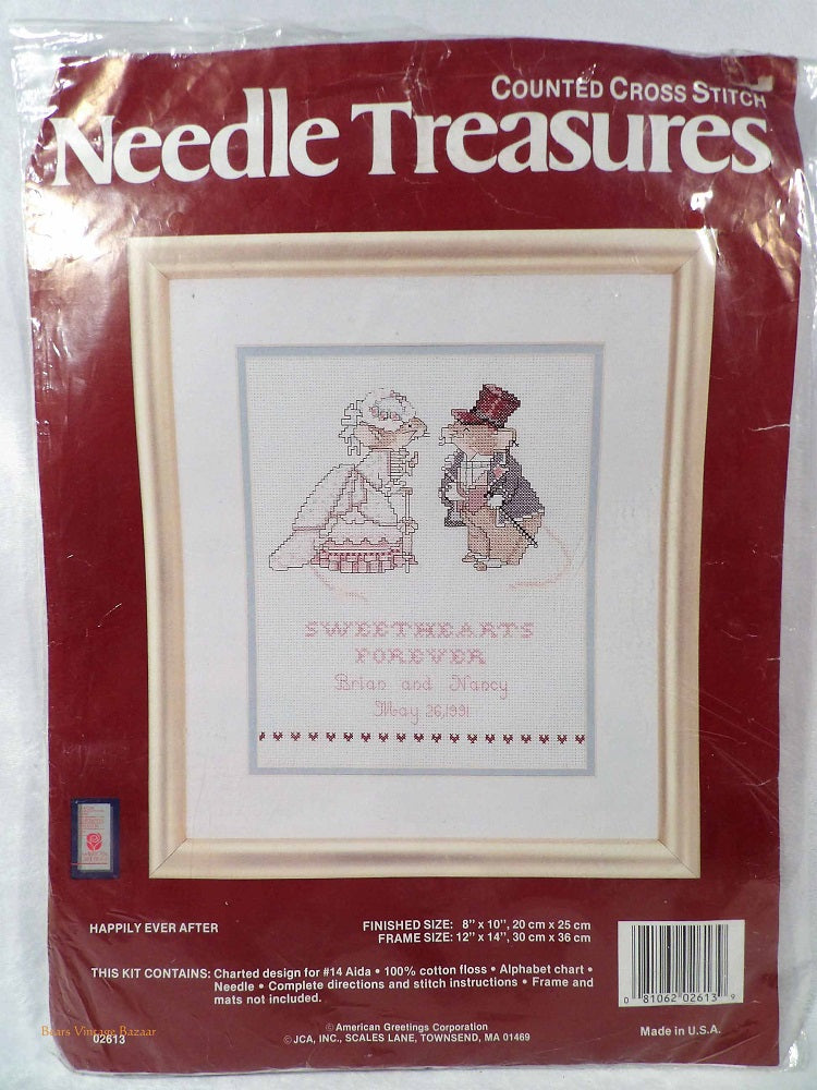 Happily ever after, wedding memorabilia, Sweet Hearts Cross Stitch Embroidery Kit,  Needle Treasures,  1990