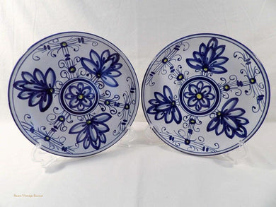 Italian majolica plates, Deruta style, blue and white, hand painted Italy, vintage decor, 1950s