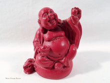 Laughing Buddhas, Cinnabar Lacquer figurines, raising pearl, Chinese Buddhas, vintage collectables, home decor, 1980s