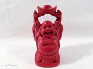Laughing Buddhas, Cinnabar Lacquer figurines, raising ingot, Chinese Buddhas, vintage collectables, home decor, 1980s
