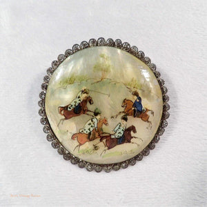 hand-painted Persian jewellery, Persian silver and mother of pearl brooch,  silver brooch, mother of pearl jewellery, vintage jewellery