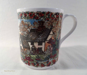 English china mug, Worcester Porcelain, Country Villages Collection, November theme, collectable china