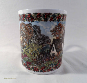 Country Villages, Worcester Porcelain, vinatge collection, china mug, English, November theme, collectable china