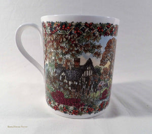 vintage collection, Worcester Porcelain, Country Villages Collection, china mug, English, November theme, collectable china
