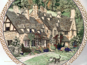 Sue Sallard Villages Series, Broadway Village Cotswolds, Worcester Porcelain Collectors Plates, collectible fine bone china plates, English country villages design, vintage collectibles