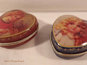 sweetheart tins, collectable vintage metal ware,  romantic victorian girls, heartshapes tin, 1990s