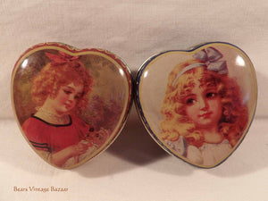 collectable tins, sweetheart tins, romantic victorian girls, heartshapes tin, 1990s