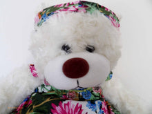 teddy bear dress,white teddy bear, vintage dressed bear, cuddly bears, soft toy plush, vintage, Australian teddy bears